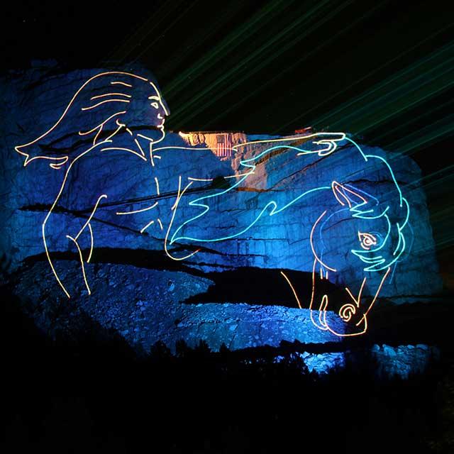 Crazy Horse Memorial laser overlay