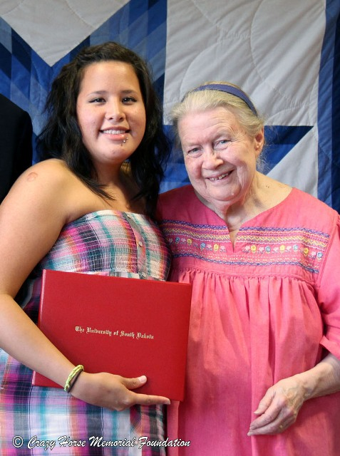 Ruth with a recent Indian University of North America graduate