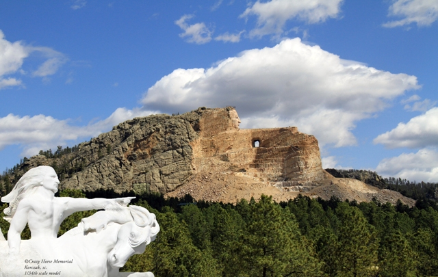 Crazy Horse Memorial pictured with the original model