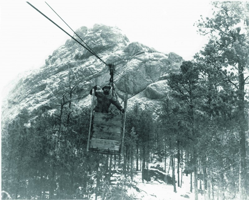 Korczak in the aerial cable car