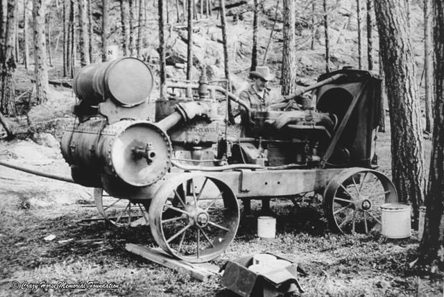Korczak with gas compressor jackhammer
