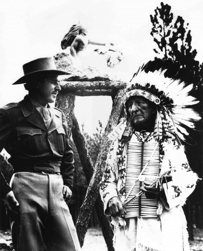 Korczak standing with Chief Henry Standing Bear