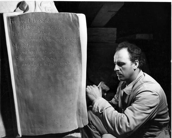 Korczak sculpting Noah Webster statue