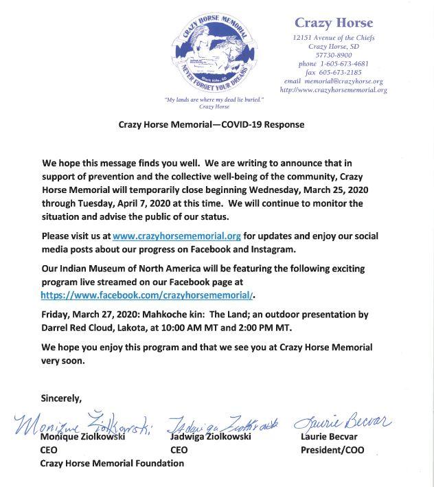 Crazy Horse Memorial—Covid-19 Response