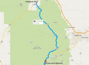 Directions From Deadwood, SD Map