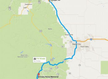 Directions From Sturgis, SD Map